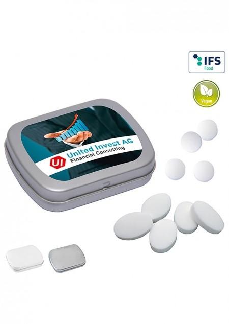 Mini-Klappdose mit zuckerfreien Pfefferminzpastillen