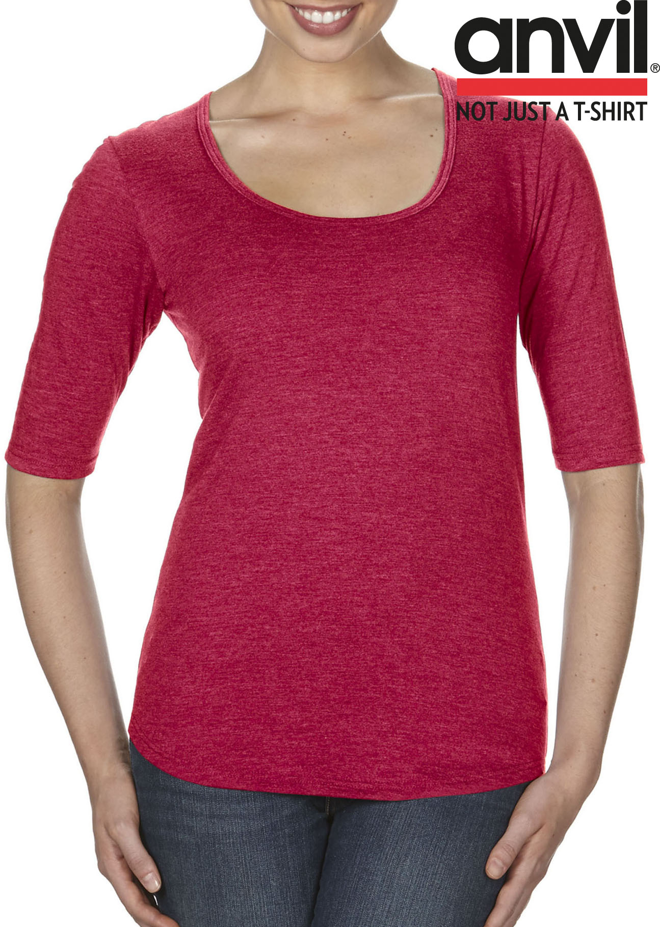 Anvil Women`s Tri-Blend Deep Scoop 1//2 Damen Longsleeve Langarm Shirt