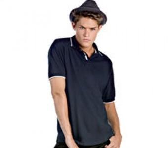 Polo-Shirts Basics & Herren Halbarm mit Kontrast