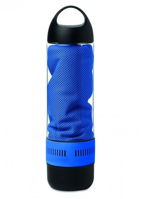 Trinkflasche mit Lautsprecher und Handtuch