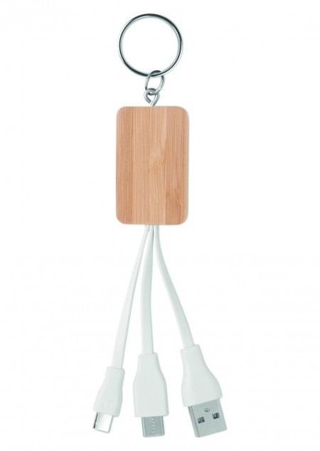 Bambus Schlüsselring-Ladekabel 3in1