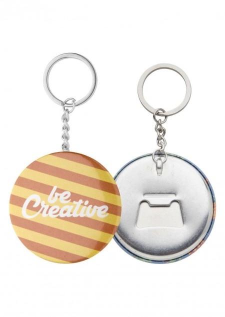 Button-Schlüsselanhänger mit Flaschenöffner