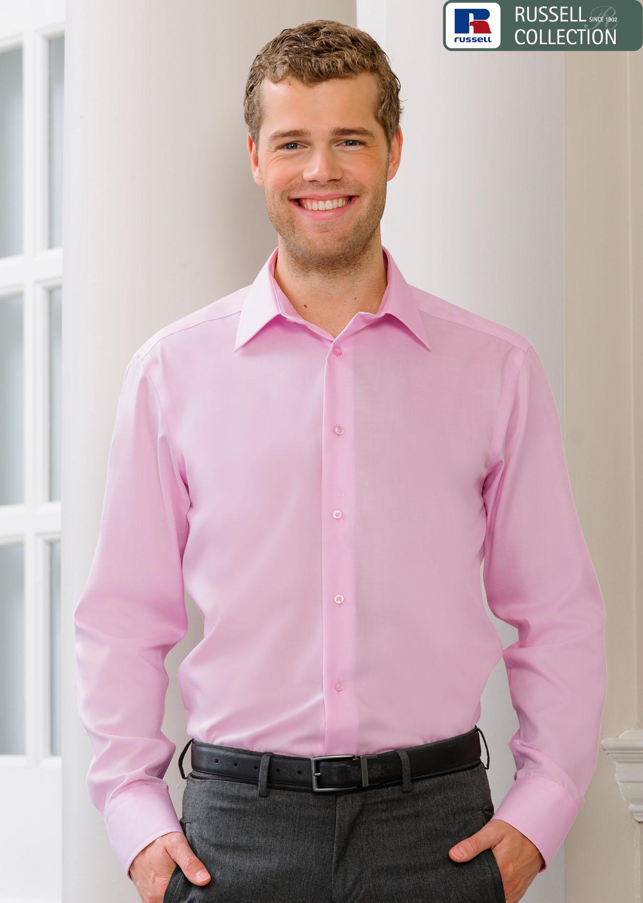 Russell, Bügelfreies tailliertes Langarm-Hemd, Textilien « Merkur ... 47f0872076
