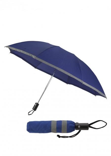 Reversibler Taschenschirm mit Reflektorstreifen