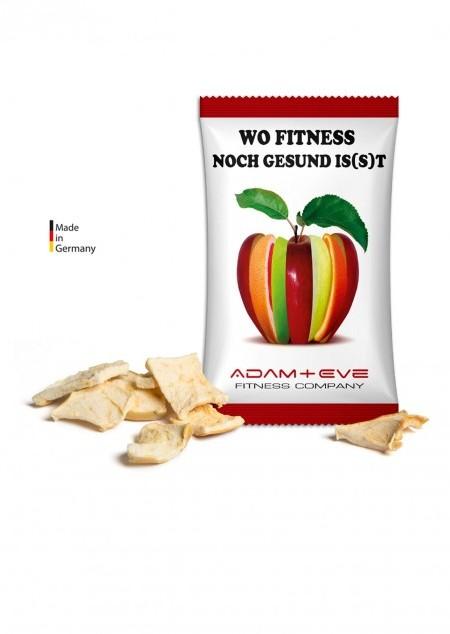 Apfelchips im Werbetütchen vegan