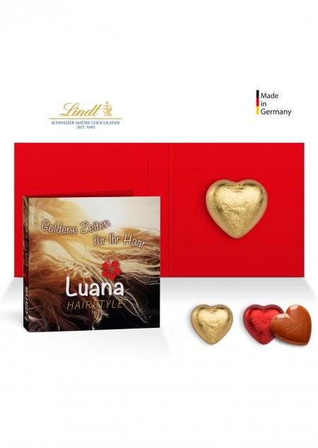 Werbeklappkarte mit Lindt Schokoladen Herz 5 g