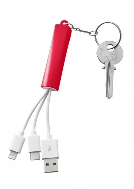 Route 3-in-1-Ladekabel mit Schlüsselanhänger