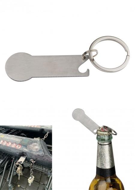 Schlüsselanhänger mit Einkaufschip und Kapselheber