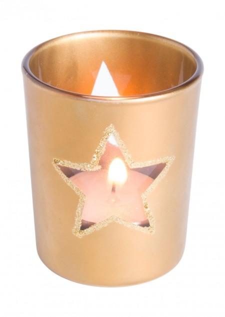 Kerze mit Weihnachtsmotiv
