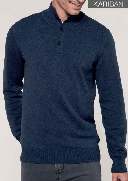 Premium Pullover mit geknöpftem Ausschnitt