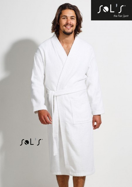 Unisex Bademantel mit Kimonokragen