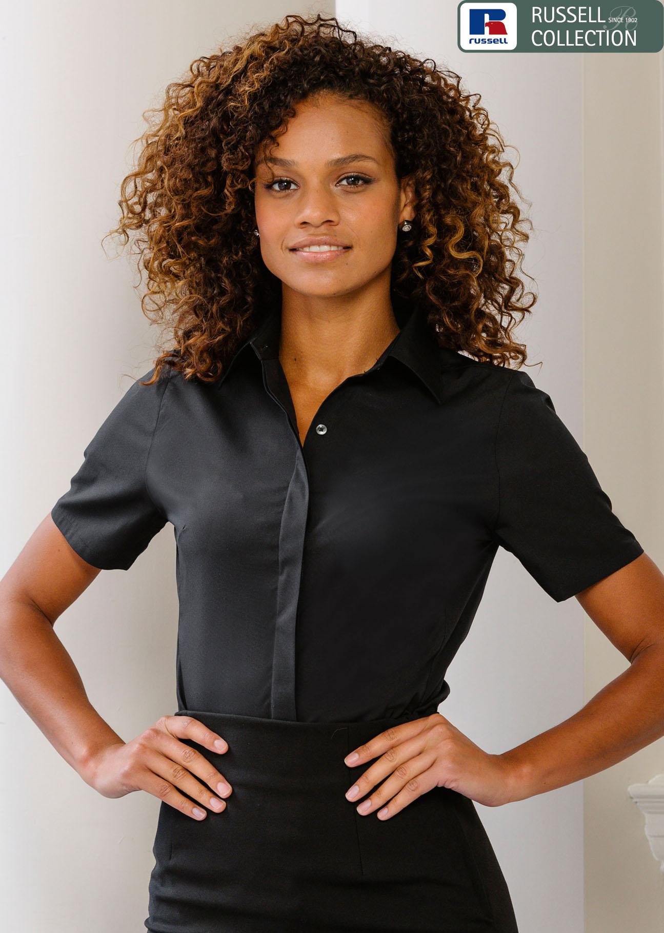 Russell, Damen Kurzarm Stretch Bluse, günstig besticken « Merkur ... 3f40f41227